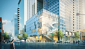 A City Council decision on the proposed downtown 7th & Market mixed-use development is on hold while the city decides on a new operating agreement with Civic San Diego. Rendering courtesy of Cisterra Development