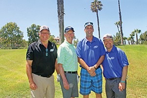 The foursome from San Diego-based USE Credit Union Ken Kramer, left, Jim Harris, Matt Adams, and Josh Lawrence came in second in the Richard Myles Johnson Foundation/CUNA Mutual Golf Tournament. Photo courtesy of the California Credit Union League