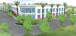 San Diego's Murphy Development plans to build a new research-and-development campus, with industrial and office elements, on land in Scripps Ranch that it acquired from Intel Corp. Rendering courtesy of Murphy Development