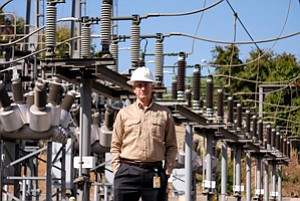 Plugging Batteries: Southern California Edison's Colin Cushnie at a Rosemead substation of the utility. The company is working on a 20-megawatt storage facility in Mira Loma.