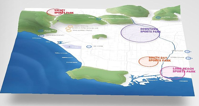 A map of the possible Olympic venues for the 2024 games.