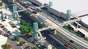 Slated to begin service in 2021, the $2.1 billion Mid-Coast Trolley extension will include nine new stations, including this terminus adjacent to the Westfield UTC mall. Rendering courtesy of San Diego Association of Governments