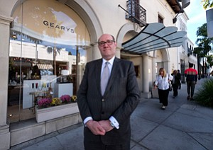 Driving Issue: Tom Blumenthal at the Geary's Beverly Hills shop on Beverly Drive.