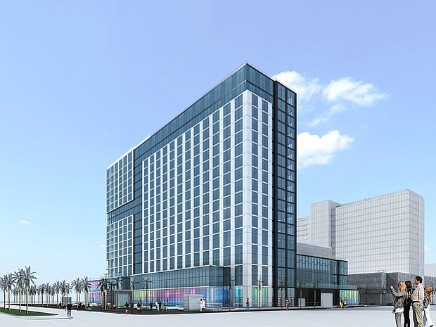 Excavation was recently completed for an InterContinental Hotel that will anchor the second phase of the mixed-use BRIC development on the former site of Lane Field. -- Rendering courtesy of Lankford Phelps Portman
