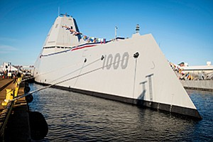 The USS Zumwalt is bound for its home port in San Diego. The destroyer has a distinctive, stealthy design.