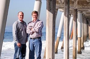 Shored Up: Fresh Brothers' Adam Goldberg, left, with Peter Nolan of Nolan Capital in Hermosa Beach.