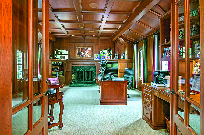 The walnut-paneled office in a home at 14419 Bellvista Drive in the Del Mar Country Club community of Rancho Santa Fe. Photo courtesy of Coastal Premier Properties