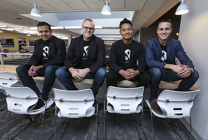 Industry Chief Technology Officer Varun Villait, left, and founders Matthew Cecil, Errol Asuncion, and Cody Barbo.
