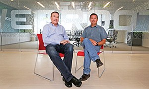 Tom Caldwell, left, a cofounder of Cyberflow Analytics, is now senior director of engineering at Webroot Inc., which bought the San Diego startup and its technology. He works closely with Hal Lonas, chief technology officer.