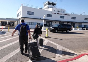 Up in Air: Passengers at Long Beach Airport, which may add international flights.