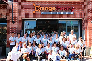 Participants gather at the La Jolla Orangetheory Fitness studio in support of the Clearity Foundation fundraiser for Ovarian Cancer Month. Photo courtesy of Sami Nelson