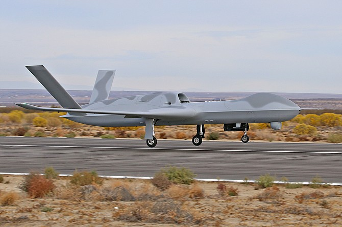 Avenger ER is a heavier version of General Atomics Aeronautical Systems Inc.'s Predator C, which can stay in the air longer. It made its first flight Oct. 27 - Photo courtesy of General Atomics Aeronautical Systems Inc.