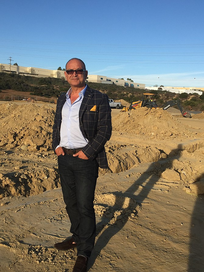 Developer Ben Badiee is seen here at Carlsbad Victory Industrial Park, a recently started project slated for completion in summer 2017. Photo courtesy of Badiee Development Inc.