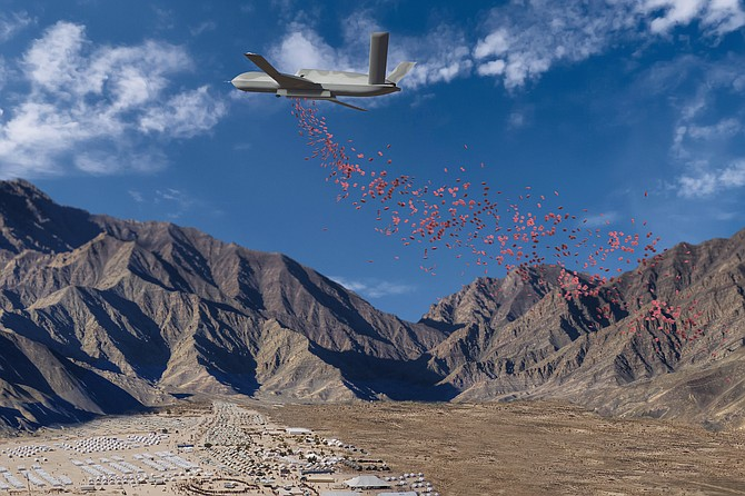 A photo illustration shows how an unmanned Predator C aircraft might drop humanitarian aid packets to refugees. General Atomics Aeronautical Systems Inc. of Poway has pledged to make a company-owned aircraft available for humanitarian missions - Rendering courtesy of General Atomics Aeronautical Systems Inc.
