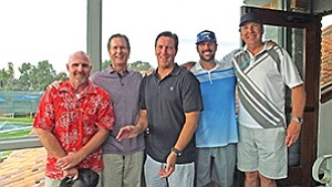 Rich Risner, left,  president of the San Diego Chapter of the American Society of Landscape Architects, with reps from Coast Recreation Inc. Tim Hodges, Mike Eisert, Chad Berry and Gregg Rogers at the group's 37th annual golf tournament. Photo courtesy of San Diego Chapter of the American Society of Landscape Architects