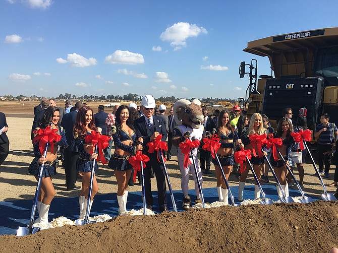 Groundbreaking ceremony at the new location of the Ram's stadium in Inglewood. Photo by David Nusbaum
