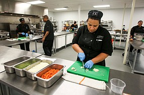 Turning Up Heat: Tenant at Lincoln Heights' L.A. Prep kitchen in November 2015.