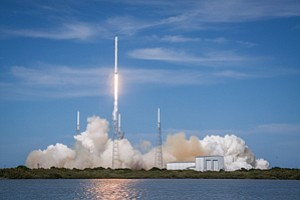 Getting Off Ground: Launch of a Falcon 9 rocket by SpaceX in April of last year.