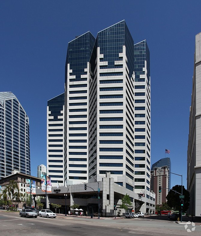Emerald Plaza on West Broadway in downtown San Diego – Photo courtesy of CoStar Group