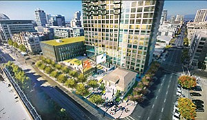 UC San Diego Extension plans to open a new $42 million cultural and education center in this building planned for downtown's East Village, as part of a larger mixed-use project called Park & Market, being developed by Holland Partner Group. Rendering courtesy of UC San Diego, Carrier Johnson + Culture