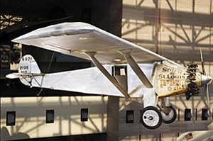 The same company that built the Spirit of St. Louis now makes unmanned aircraft. Photos courtesy of Smithsonian Institution, Northrop Grumman Corp.