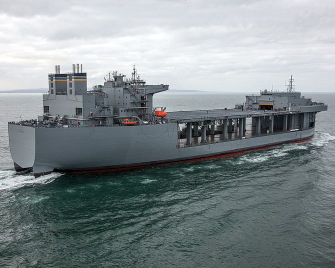 General Dynamics NASSCO received funds to build an expeditionary sea base, a 784-foot ship similar to the USNS Lewis B. Puller, shown here - Photo courtesy of General Dynamics NASSCO