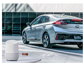 Google Home speaker and Hyundai IONIQ