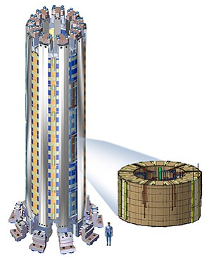 ITER's central solenoid will handle current of up to 14,000 volts. Image courtesy of General Atomics
