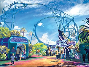 Among several upcoming new attractions at SeaWorld San Diego is Electric Eel, a high-speed looping roller coaster slated to open in summer 2018. Rendering courtesy of SeaWorld San Diego