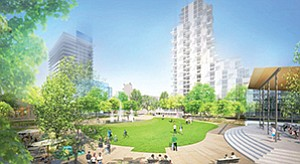 "The city is in talks with developers on standards for a proposed central ""gateway"" area in Hillcrest, which could include open spaces and high-rise residential towers. Rendering courtesy of Uptown Gateway Council"