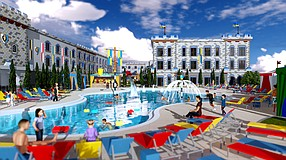 A rendering of the pool area of the planned new Legoland hotel. -- Rendering courtesy of Legoland California Resort