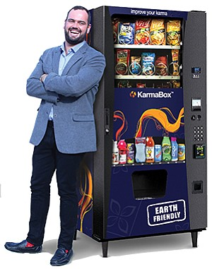 CEO A.J. MacQuarrie of KarmaBox Vending says his company's tagline is 'Boutique Healthy Vending,' taking pride in the service KarmaBox is able to provide as a small company. Photo courtesy of KarmaBox Vending. Photo courtesy of KarmaBox Vending