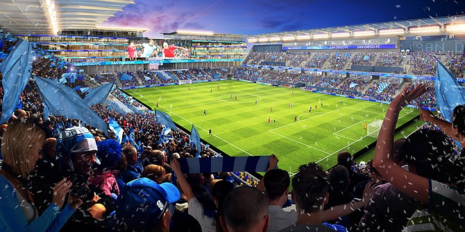A local investment group has proposed a privately funded, mixed-use entertainment development for the current site of Qualcomm Stadium, which would include a new stadium to house soccer and college football games -- Rendering courtesy of FS Investors
