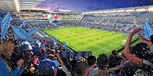 A local investment group has proposed a privately funded, mixed-use entertainment development for the current site of Qualcomm Stadium, which would include a new stadium to house soccer and college football games. Rendering courtesy of FS Investors