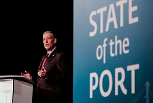 Sea Change or Staying Course?: Interim CEO Duane Kenagy speaks last week on trade issues facing the Port of Long Beach.