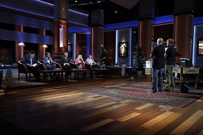 RinseKit founder Chris Crawford and CEO Eric Fagan present their product and pitch on ABC's Shark Tank; the show will air Friday. Photo courtesy of RinseKit