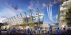 A private investor group wants to turn the current Mission Valley site of Qualcomm Stadium into a new mixed-use development that includes a stadium to host a Major League Soccer team. Rendering courtesy of FS Investors, Gensler