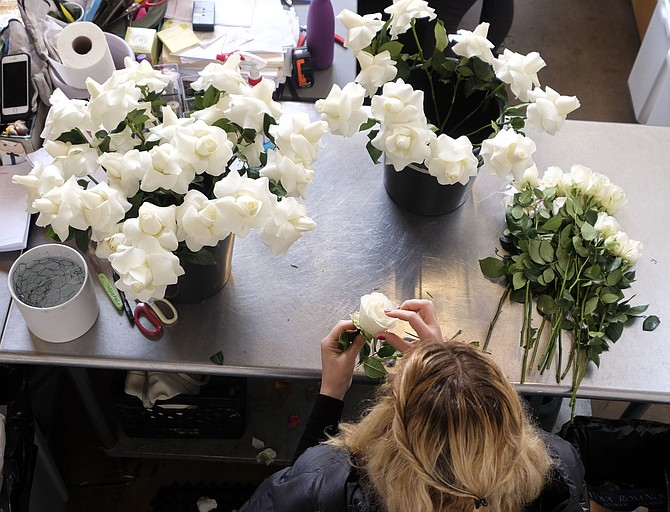 Oscar week leads to big sales at Eric Buterbaugh's flower shop. Photo by Ringo H.W. Chiu/LABJ