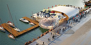 A jurisdictional dispute between the Unified Port of San Diego and California Coastal Commission could hold up plans for Brigantine Inc.'s Portside Pier, which is scheduled to replace the recently closed Anthony's Fish Grotto. Issues include whether the new project's restaurants with dock-and-dine facilities are subject to an appeals process. Rendering courtesy of Unified Port of San Diego