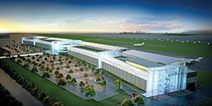 Developers are now projecting a late 2017 construction start on more than $1 billion in aviation and commercial amenities planned for Brown Field Municipal Airport in Otay Mesa. The first of four planned phases will be focused on aviation services. Rendering courtesy of Metropolitan Airpark LLC