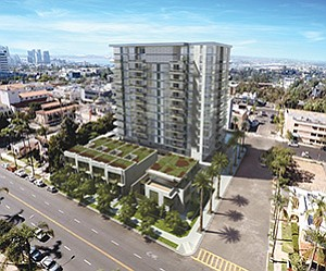 Among the new high-end condos under construction are The Park, a 13-story, 63-unit project in Bankers Hill that is expected to be completed this summer. Rendering courtesy of Zephyr Partners
