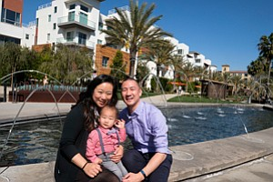 Right at Home: Linna and Dennis Hsii, with son, Cal, both live and work in Playa Vista.
