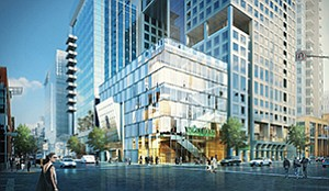 A new Ritz Carlton hotel, part of a larger mixed-use office development that will also include the upscale grocer Whole Foods Market, is planned for East Village. Rendering of Carrier Johnson + Culture