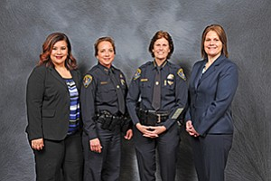 Aida Vasquez, left, Police Capt. Sandra Albrektsen, Chief Shelley Zimmerman, and  Roxanne Cahill, at the 2017 Women in Blue luncheon.  Photo courtesy of the San Diego Police Foundation