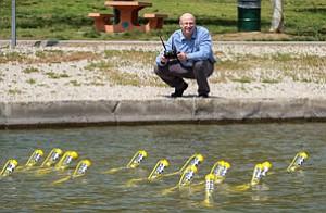 Taking Plunge: Tyler MacCready with Apium submarine swarm.