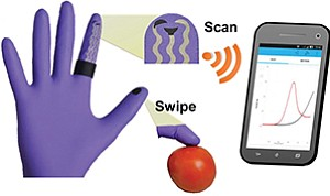 UC San Diego scientists created a lab on a glove. A wearer swipes the suspected surface (here a tomato) with a thumb, rubs the thumb against the index finger (which contains electrodes), and reads the test result on a smartphone. Illustration courtesy of American Chemical Society