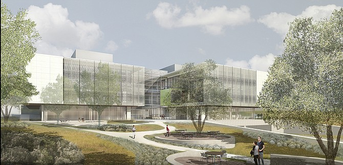 A rendering of the Center for Novel Therapeutics at UCSD. Photo courtesy of BioMed Realty.