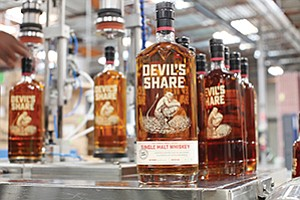 Craft whiskey is among alcoholic beverages bottled at Cutwater Spirits' production and distribution facilities in Miramar. Photo courtesy of Cutwater Spirits