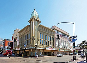 A group led by Hollywood film producer Elie Samaha is overhauling the interior of this Gaslamp Quarter building that formerly housed Reading Cinemas. By year's end, it's expected to house a multi-venue entertainment center including a luxury movie theater, restaurants, lounges and gathering spaces. Photo courtesy of CoStar Group