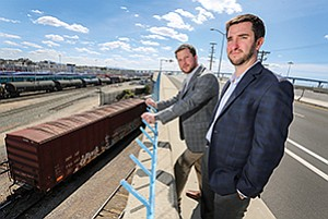 Joe Caprara, left, and Warren Kucker co-founded Boxton Inc. after seeing their tech giant employers waste money on shipping.